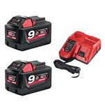Image de MILWAUKEE M18NRG-902 PACK 2 ACCUS 18V 9AH + CHARGEUR