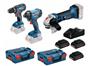 Image sur PROMO BOSCH TOOL KIT 18V 3 MACHINES (GSR 18 V-28/GDR 18 V-160/GWS 18-125 V-LI)+ 3 ACCUS 4AH + L-BOXX