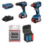 Afbeeldingen van PROMO BOSCH TOOL KIT 18V 2 MACHINES(GSB 18 V-55/GDX 18 V-180) + 2 ACCUS 4AH + L-BOXX