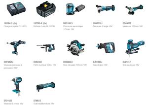 Afbeelding van PROMO MAKITA PACK DLX1036TJ1 MACHINE 18V 10 MACHINES + 2 CHARGEURS + 5 ACCUS