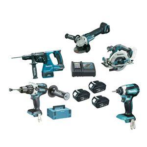 Afbeelding van PROMO MAKITA PACK DLX5070TJ MACHINE 18V 5 MACHINES + 1 CHARGEUR + 3 ACCUS